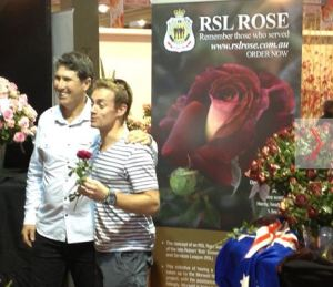 During the Melbourne Flower Show 2013, the RSL Rose featured on channel 7's morning show SUNRISE with Grant Denyer and Kim Syrus.